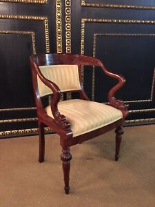 19th Century Empire Chair Solid Mahogany With Swans