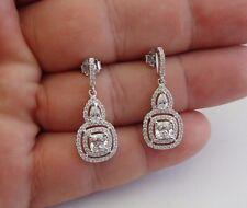 925 STERLING SILVER CLEAR TEARDROP SQUARE DANGLING EARRINGS W/ 4 CT LAB DIAMOND
