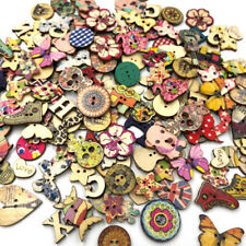 100 pcs Animal Wood Sewing Buttons Scrapbooking Heart/Butterfly/Owl/Gog WB527