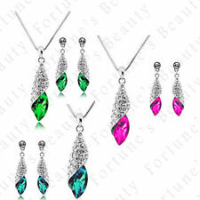 White Gold Plated Green Costume Jewellery Sets