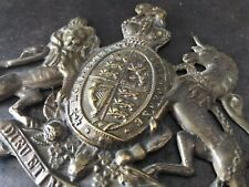 More details for 🗝🇬🇧 antique vintage original brass rare lion unicorn safe plaque 🇬🇧🗝