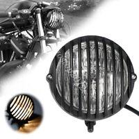 12V 35W H4 Black Motorcycle Finned Grill Headlight HI Lo For Cafe Racer Bobber