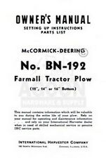 Farmall Deering Bn-192 Plow 12 14 16 Operators Manual