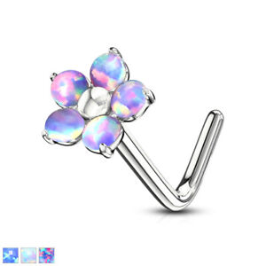 """Pretty Flower With OPAL PETALS 316L Surgical Steel """"L"""" Bend Nose Stud Ring Screw"""