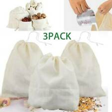 3x Organic Cotton Nut Milk Bag Reusable Food Strainer Coffee Juice Cheese Cloth