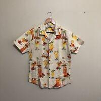 Pacific Legend Cocktails Palm Trees Hawaiian Shirt Cream Mens Medium