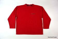 Vintage 90s Men's Tommy Hilfiger Athletics Spellout Fleece Sweatshirt Red Sz XL