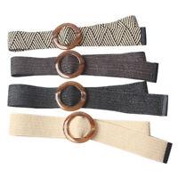 Round Wooden Buckle Elastic Straw Belt Women Braided Wide Woven Waistband New td