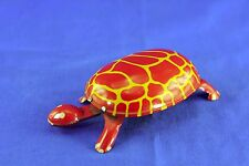 VINTAGE TIN LITHO WIND UP RED YELLOW TURTLE MARKED MADE IN USA