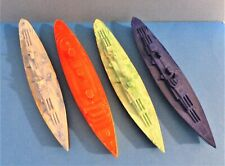 """Thomas Toy Plastic Military Ship & 3 Others Similar But Unmarked (About 5.5"""" Ea)"""