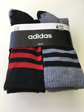 New Mens Adidas 6 Pack Sport Fitness Aeroready Tech Gray & Black Crew Cut Socks