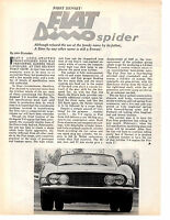 1967 FIAT DINO SPIDER   ~  ORIGINAL 2-PAGE ARTICLE / AD