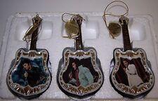 Elvis Presley 3 Musical Guitars Christmas Tree Hanging Ornaments Bradford