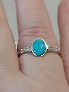 Arizona Sleeping Beauty Turquoise & Diamond Ring Size T Sterling Silver