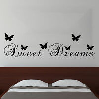 Sweet Dreams Butterfly Vinyl Wall Sticker Quote | Bedroom Mural Decor Decal UK