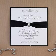 save the date card black ribbon & diamanté trim (sebastian)