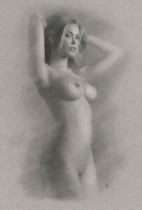Female Nude ORIGINAL DRAWING Charcoal Art realism naked woman girl NO RESERVE nr