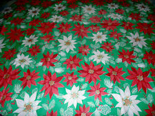 "Vintage Christmas Flannel Back Vinyl Tablecloth Green Red Poinsettia 59"" Round"