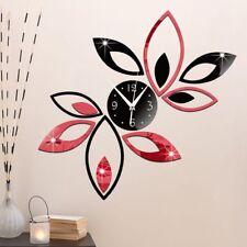 Modern Clock Lotus DIY 3D Art Mirror Wall Sticker Removable TV Home Decoration