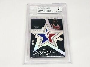 2007-08 UD Black All-Star Autographs MICHAEL JORDAN #d 04/25 BGS 8, Auto 10!!