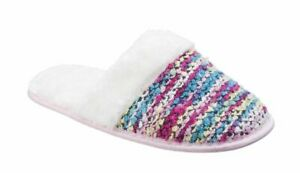 Divaz warm lined slip on mule slippers Style Salzburg Colour Pink Multi Sz s3/4