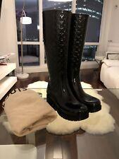 1d7d968aff0 AUTHENTIC LOUIS VUITTON MONOGRAM BLACK RAIN BOOTS Size 35 + Dust Bag  No  Box