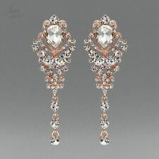 ROSE GOLD Plated Clear Crystal Rhinestone Wedding Drop Dangle Earrings 02110 New