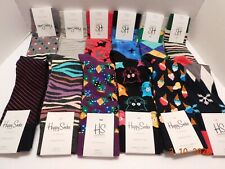 Lot Of 12 Pairs Of Happy Socks Polka, Dot Striped Multi-Color Crazy Sz 8-12 NWT