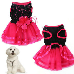 UK_ AM_ PET DOG PUPPY FLOWER GAUZE DRESS SKIRT PUPPY CAT PRINCESS CLOTHES APPARE