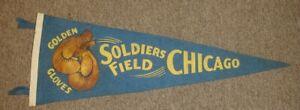 "Original 1933? Golden Gloves Soldiers Field Chicago 25"" Blue Felt Boxing Pennant"