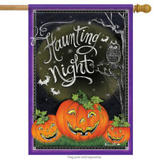 "Haunting Night Halloween House Flag Pumpkin Bats Spider Webs 28"" x 40"""