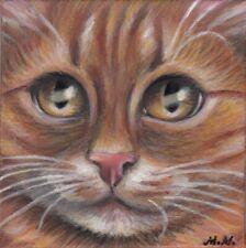 Orange Tabby Cat Kitten Portrait Original 5x5 Art Painting by MARTA