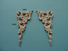 Decorative wooden large ornate corners pair applique furniture moulding D210L