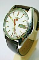 Seiko Watch 5 Automatic S Men White Dial Stainless Steel Vintage Date Japan 17 J