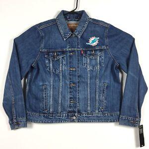 Levis Womens Blue Denim Trucker Jacket Size XL NFL Miami Dolphins NWT $108