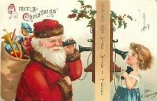 Ellen H Clapsaddle~Christmas~Santa Claus on Vintage Wall Phone~Talks w/Girl~Emb