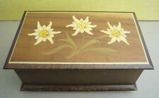 Vintage Reuge Switzerland Swiss Movement Wooden Music Jewelry Box Edelweiss