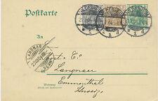"2145 GERMANY ""HILDESHEIM / 1"" CDS VFU THREE COLOURS POSTAGE to SWITZERLAND 1904"