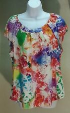 NWT $49 Eci New York Women's Multi-Color Floral Top Blouse Size: XL