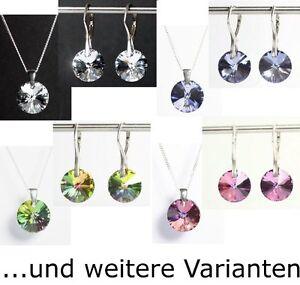 Farbe wählen! Silber 925 Schmuck-Set mit Swarovski® Kristallen Kette Ohrringe
