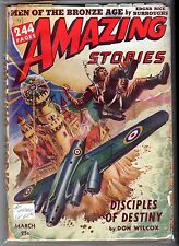 GLOSSY! 1942 AMAZING STORIES E.R. Burroughs MEN OF THE BRONZE AGE! 25c Pulp Mag!