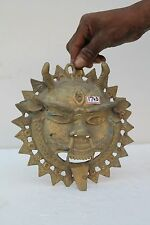 Vintage Old Hand Crafted Brass Demon Face Engrave Wall Hanging Mask NH1743