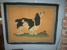 Antique English Springer Spaniel Dog Hand Hooked Wool Rug early 1900's ~ 38 x 30