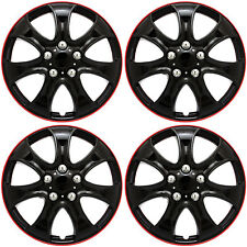 "4 Piece Set 15"" inch Ice Black W/ Red Trim Hub Caps Wheel Covers Cap Covers"