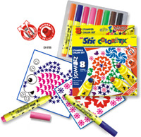 Stic Stampozz Stamper Pens Set of 8 Designs Assorted Colour