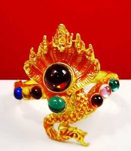 Naga Bangle 7 Heads Dragon Gold Bracelet Talisman Jewelry Thai Buddha Amulet