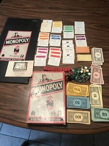 vintage MONOPOLY board game and pieces 1954 Parker Brothers