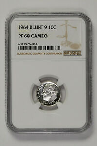 1964 Blunt 9 10C Proof Silver Roosevelt Dime NGC PF 68 Cameo