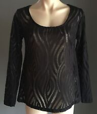 NWOT Lovely KOOKAI Black Semi Sheer Long Sleeve Top Size 10/38