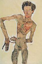 """Egon Schiele, Nude Male. Grimassierendes Aktselbstbildnis 20""""x14"""" Canvas Art"""